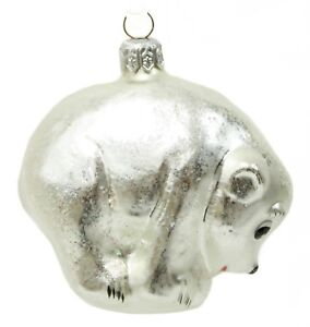 image is loading vintage silver painted glass polar bear christmas ornament