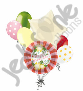 Image Is Loading 7 Pc Pretty Flower Happy Birthday Balloon Bouquet