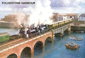 Grosses Soldes Hornby Dublo - Railway Art Folkestone Harbour No.14 By J. Austin Signed/numbered Usines Et Mines