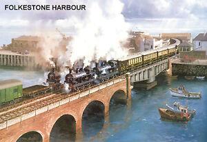 Adroit Hornby Dublo - Railway Art Folkestone Harbour No.14 By J. Austin Signed/numbered Une Grande VariéTé De Marchandises