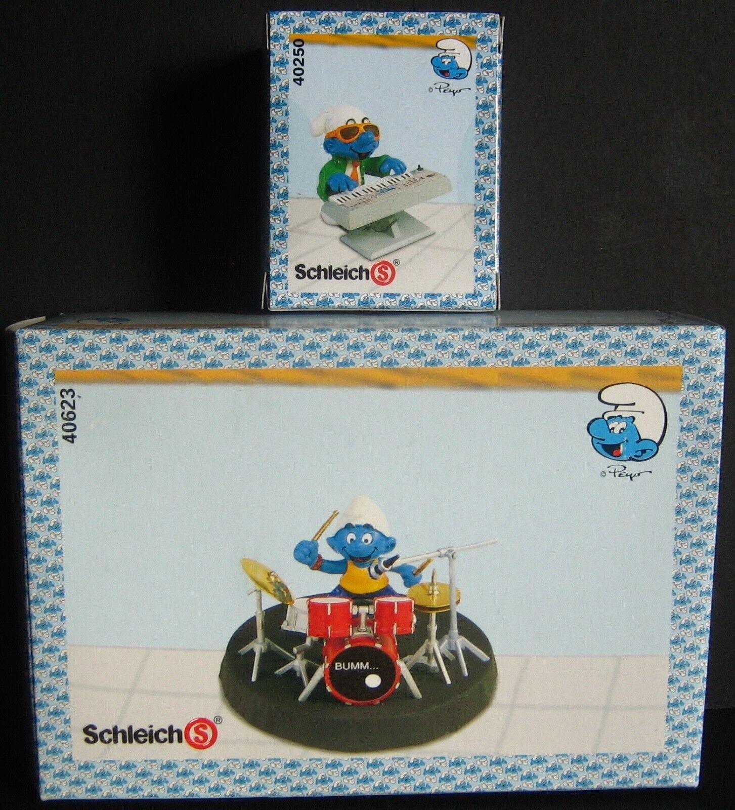 Schleich Smurfs Band Set of 6 different Figures Drummer 40623 New In Sealed Box