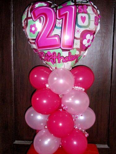 """18/"""" globo de la Hoja Decoración De Mesa Pantalla Feliz 21ST Cumpleaños edad 21"""
