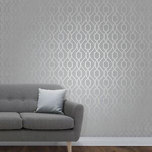 Sommet-Geometrique-Papier-Peint-Treillis-Gris-Pierre-Argent-fine-decor