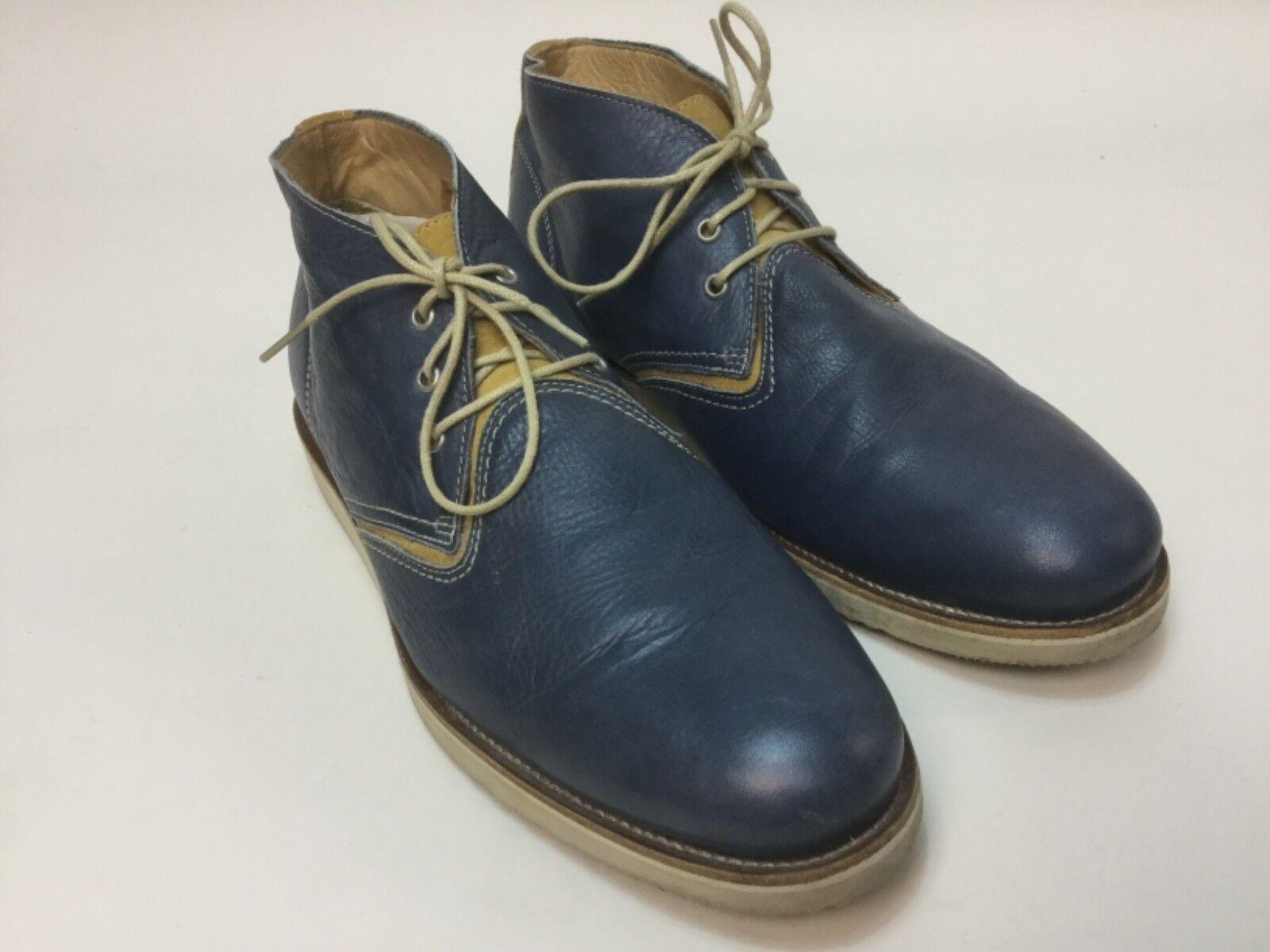 vendita di offerte Used  495 Uomo FACONNABLE blu Denim leather leather leather sz US 12   Uk 45 dress stivali scarpe  spedizione gratuita