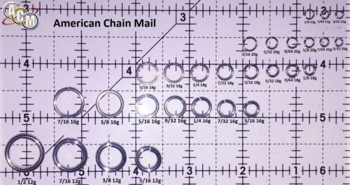 BLACK Anodized Aluminum JUMP RINGS 300 5//16 16g SAW CUT Chainmail chain mail