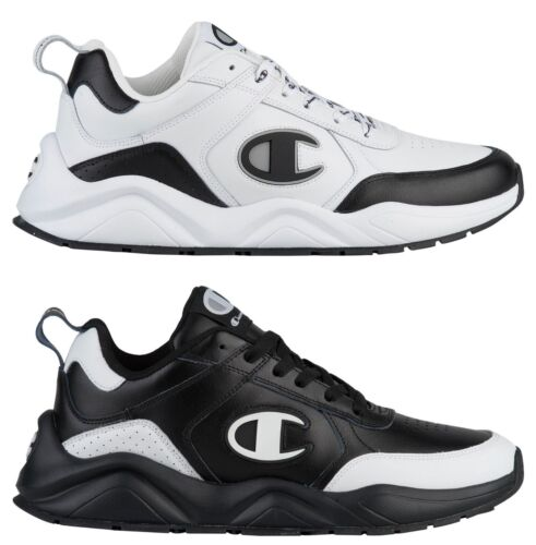 New White C Logo Champion 93eighteen Leather Mens Black Classic Sneakers 54R3LAj