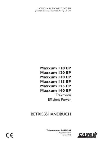 CASE MAXXUM 110 120 130 115 125 140 EP EFFICIENT POWER TRAKTOR BETRIEBSANLEITUNG