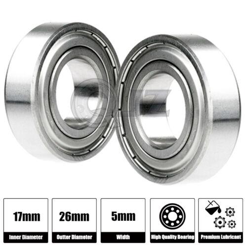 2x 6803-ZZ Ball Bearing 17mm x 26mm x 5mm Double Shielded Seal 2Z QJZ NEW Metal