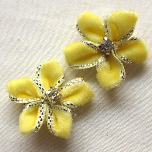 40PCS ruban de velours fleurs noeuds avec strass appliques mariage 25 mm MIX