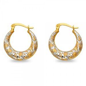 14k Yellow White Gold Shrimp Hoop Earrings Round Fancy French Lock