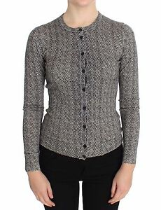 NWT-1160-DOLCE-amp-GABBANA-Sweater-Cardigan-Black-White-Wool-Top-IT36-US2-XS