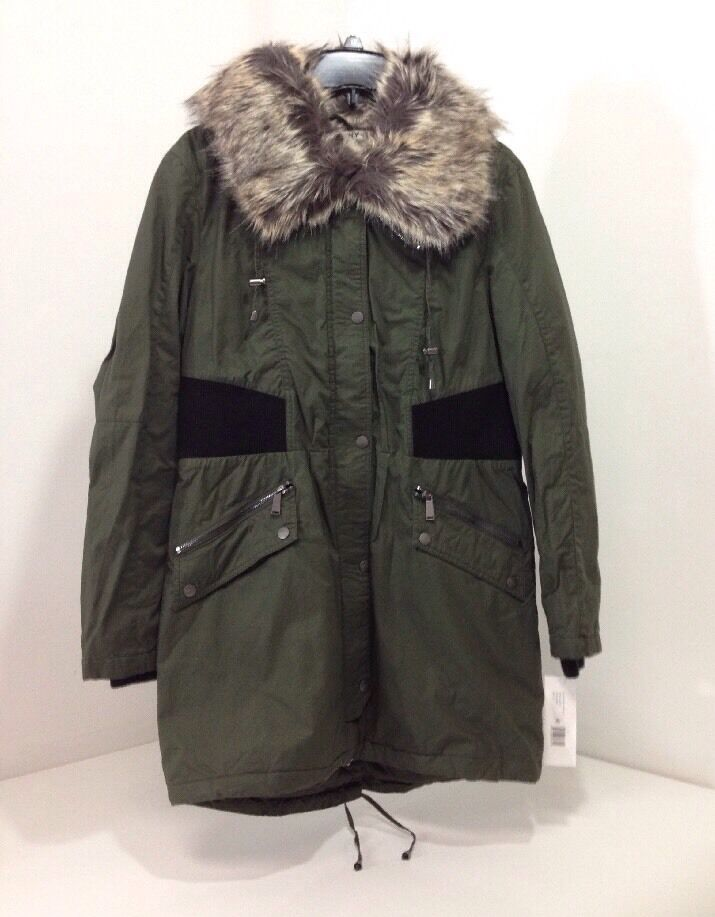 DKNY Women's Faux Fur Trim Green Size Medium Parka NWT