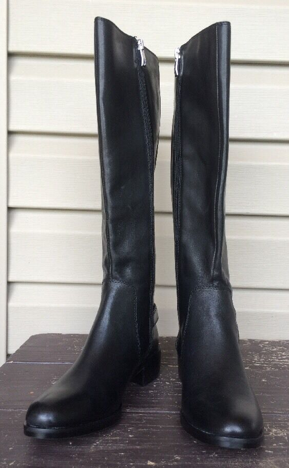 VINCE CAMUTO VOLERO TALL RIDING LEATHER STRETCH BOOTS ZIP ZIP ZIP BLACK SZ 6 NEW   198 f0daf3