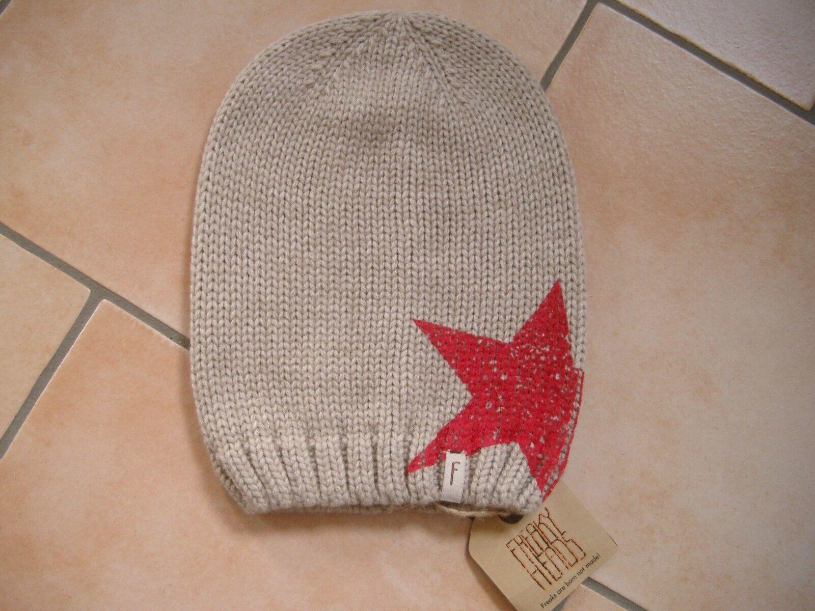(P52) Grobstrick Mütze FREAKY HEADS Beanie Wintermütze Big Star Druck &Logo Flag