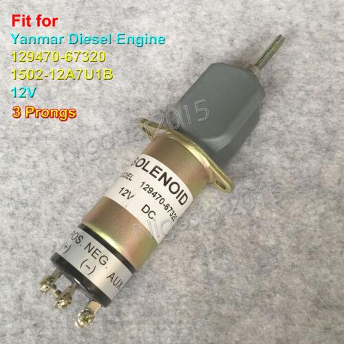 Fuel Shut Off Solenoid Valve 129470-67320 12V for Yanmar Diesel Engine 3 Prongs