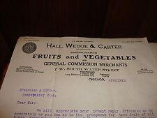 Letterhead Hall Wedge Fruits & Vegetables Generral Commission Merchants  1913