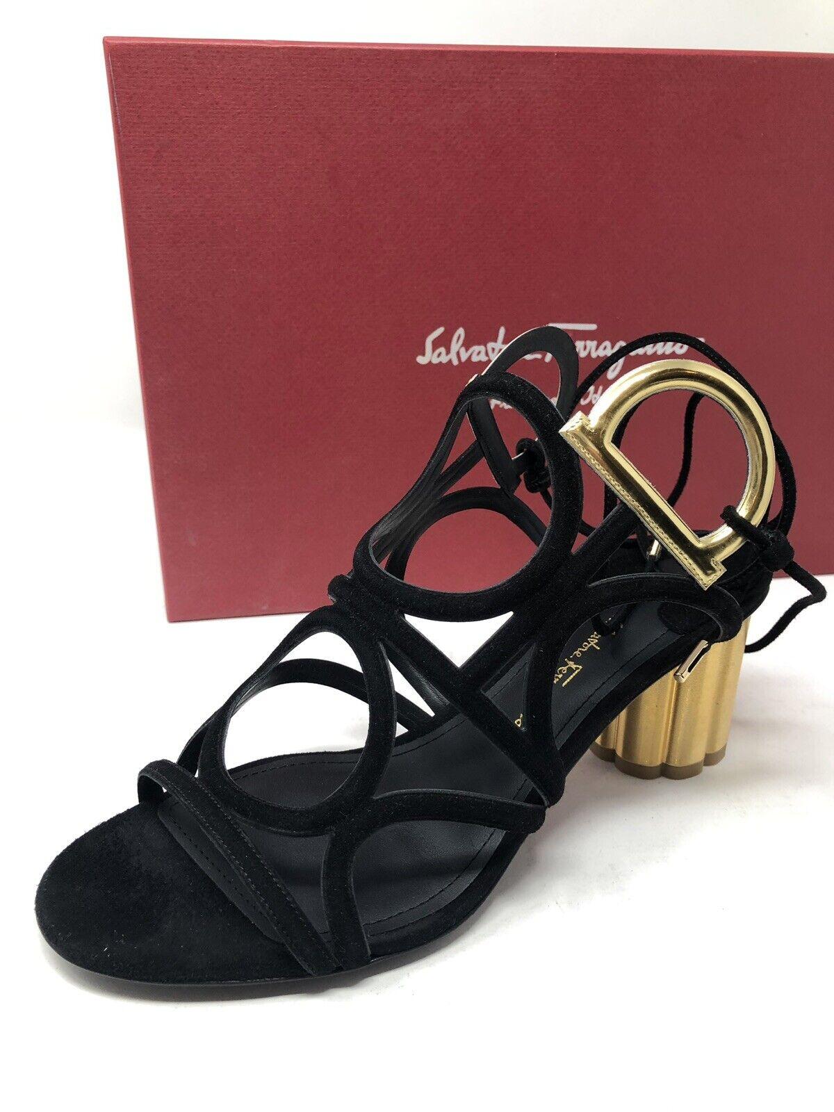 850 New Salvatore Ferragamo Womens Black shoes Ladies Sandals Flower Heels 6.5