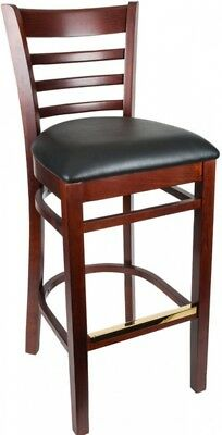 Astonishing Wooden Bar Stool Ladder Back Dark Brown Wood Black Vinyl Padded Seat Sturdy 750218356498 Ebay Forskolin Free Trial Chair Design Images Forskolin Free Trialorg
