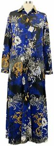 Attitudes-by-Renee-X-Small-Blue-Scroll-Long-Sleeve-Collared-Maxi-Shirt-Dress