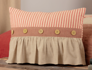 RORY SCHOOLHOUSE RED Ruffled Pillow Red//Khaki Stripe Farmhouse Rustic 14x18 VHC