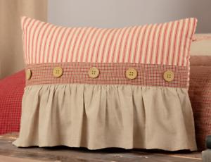 RORY SCHOOLHOUSE RED Ruffled Pillow Red//Khaki Stripe Farmhouse Rustic 14x18 VHC