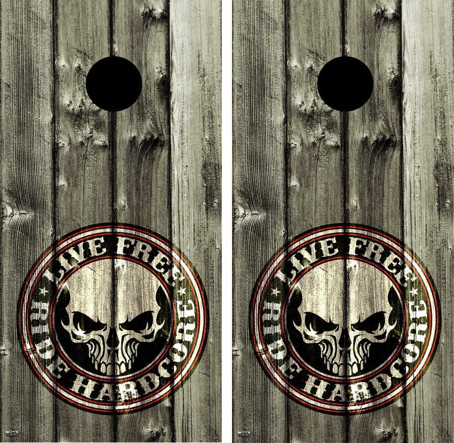 Live Free Ride Hardcore Vintage Cornhole Board Wrap Decal Set FREE SQUEEGEE