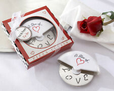 96 Slice of Love Stainless Steel Pizza Cutter Bridal Wedding Favors in Gift Box