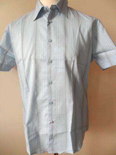 M Ben Sherman Camicia Uomo Maniche Corte A Righe Camicia Stretch Blu L Bianco S