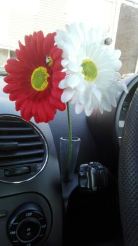 Free Gift 2 x Gerbera Daisy Dashboard Car Flower for VW Beetle Vase