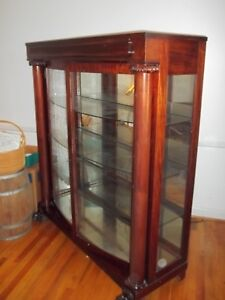 Details About Vintage 1900u0027s RED MAHOGANY CURVED GLASS Large CHINA CABINET