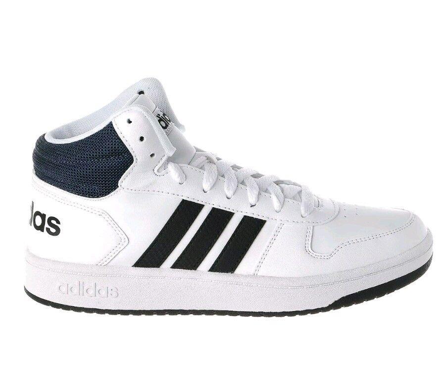 04e43c171 Men Adidas Hoops 2.0 2.0 2.0 Mid Basketball shoes DB0080 White Black Navy.  Original.