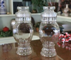 Rare-Find-Pair-of-Vintage-Clear-Glass-Apothecary-Jars-with-Lids-Set-of-2