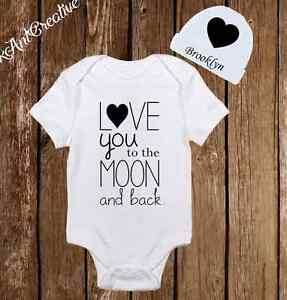 a11a0364b3f Love you to the moon   back Baby Clothes Onesies Hat Shower Gift ...
