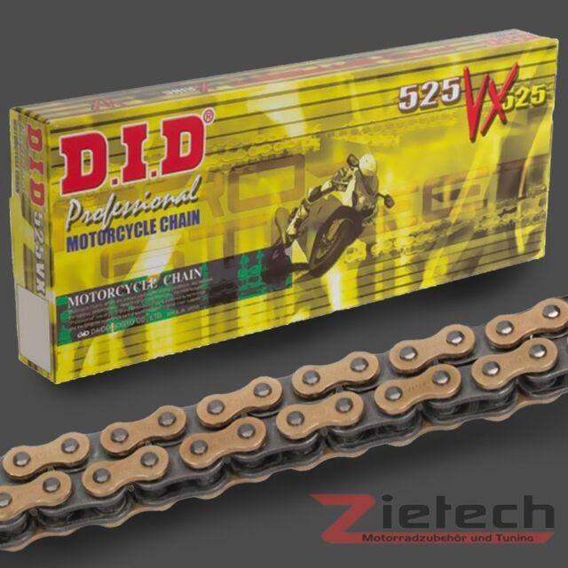 DID Motorrad Kette Offen + Nietschloss X-Ring 525 VX 104 Glieder Gold-Schwarz