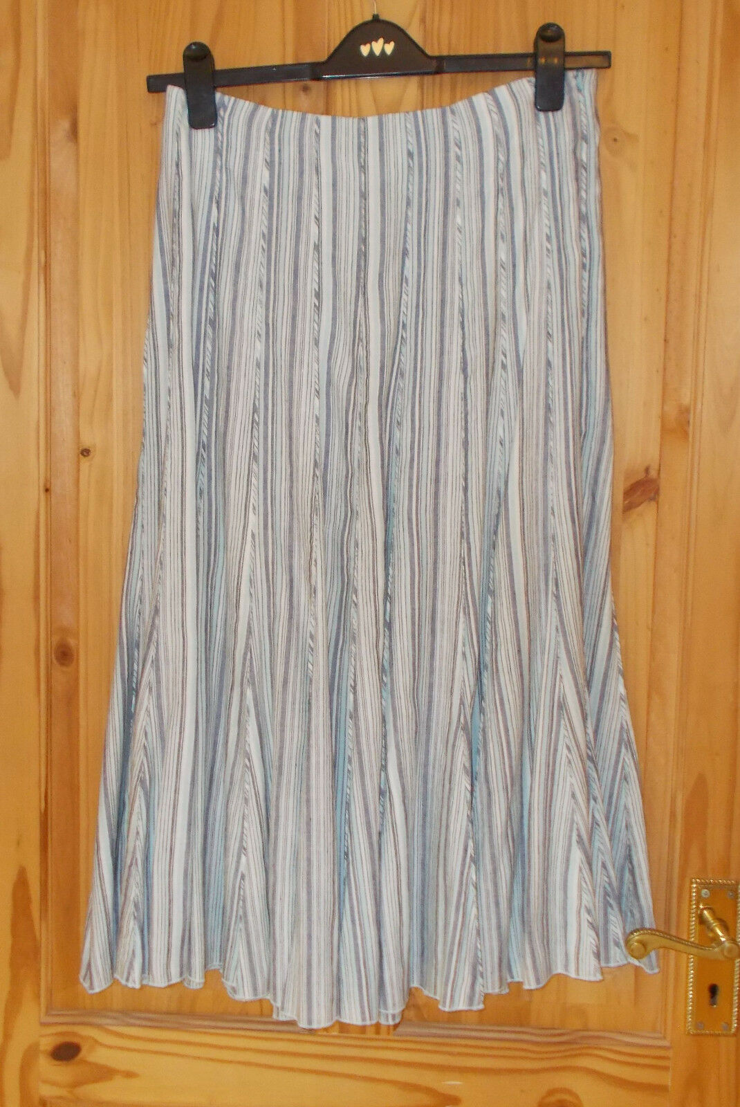 PER UNA ivory aqua bluee grey stripe LINEN midi calf long flare skirt 14 Reg 42