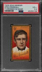Rare-1911-T205-Gold-Border-Otis-Crandall-T-Crossed-Sovereign-New-York-PSA-3-5