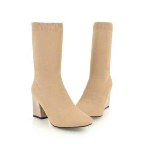 Details about  / Womens Mid Calf Sock Boots Shoes Pull On Knitted Mid Chunky Heel Stretch Comfy