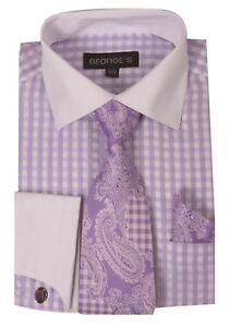 Men-039-s-Checker-Dress-Shirt-French-Cuff-w-Cufflinks-Tie-Hanky-Set-615-Lavender