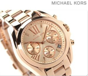 4c631d5e3cb8 Image is loading NEW-MICHAEL-KORS-MK5799-ROSE-GOLD-BRADSHAW-STAINLESS-