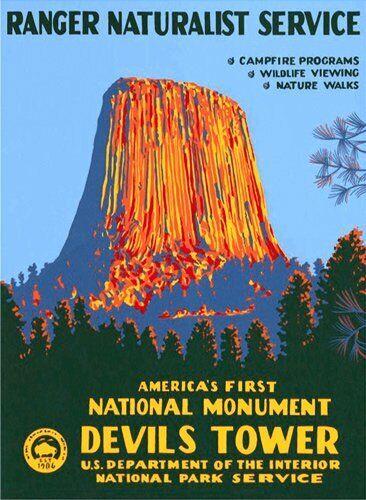 rv National Park Hike 3x4 inch Devils Tower Poster Art Bumper Sticker