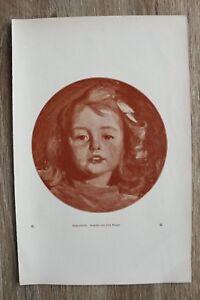 Kunst-Druck-1-Blatt-1905-06-Kinderbildnis-Gemaelde-von-Fritz-Burger-Portrait