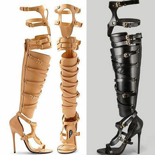 Womens Roma Gladiator shoes shoes shoes High Heel Sandals Buckle Over Knee gold Boots Plus b7ad5c