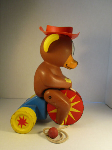 Vintage Pull Toy Bear On a Bike Trike Moving legs Wooden Rare Fisher ...