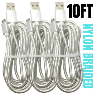 10FT Braided Micro USB Charger Cable Data Sync Charger Cord Android Samsung LG