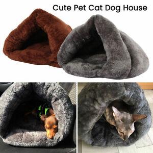 Pet-Cat-Dog-Nest-Bed-Puppy-Soft-Warm-Cave-House-Winter-Sleeping-Bag-Mat-Pad-UK