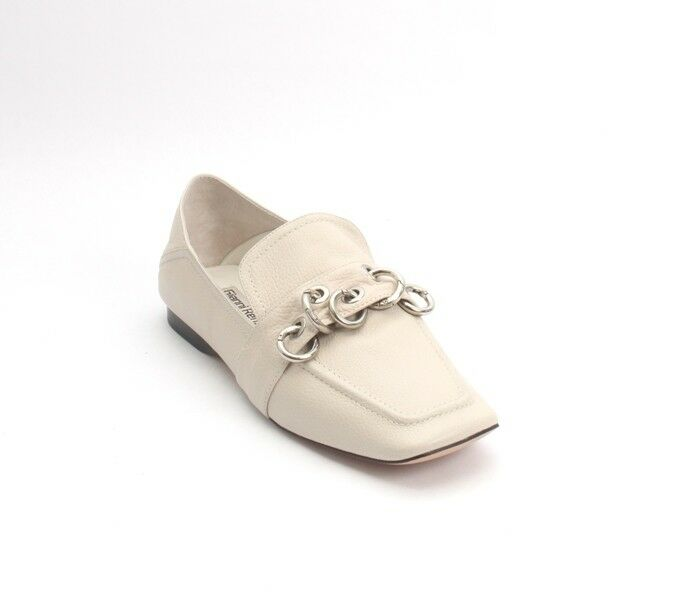 Gianni Renzi 0006m Off White Leather Loafer Fold-Down Heel / Flats 40 / US 10
