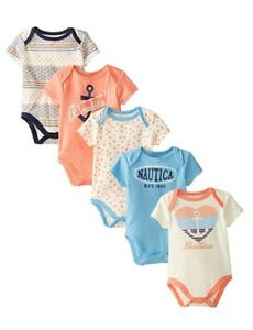 Outfits & Sets Girls' Clothing (newborn-5t) Nautica Baby Girls' 5 Pack Bodysuits 6/9 M New With Tag