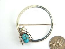ANTIQUE 9K YELLOW & WHITE GOLD BROOCH w/ TURQUOISE PEARL GREEN GARNET SET SPIDER