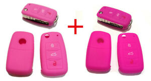 2 Für SKODA,VW, SEAT Funk Schlüssel Autoschlüssel Silikon Hülle Etui Schutzhülle