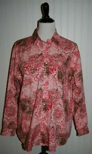 Panhandle-Slim-Roughstock-Shirt-Womens-1X-Plus-Blouse-Western-Cowgirl-Pearl-Snap